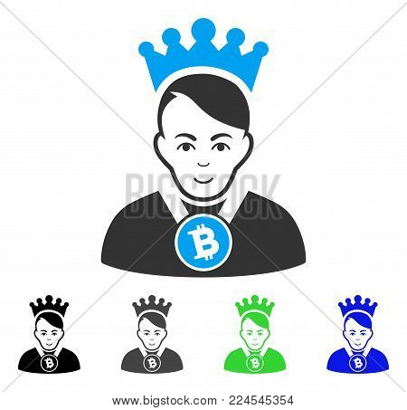 Smiling Bitcoin Lord vector icon. Vector illustration style is a flat iconic bitcoin lord symbol with grey, black, blue, green color variants. Human face has glad sentiment.