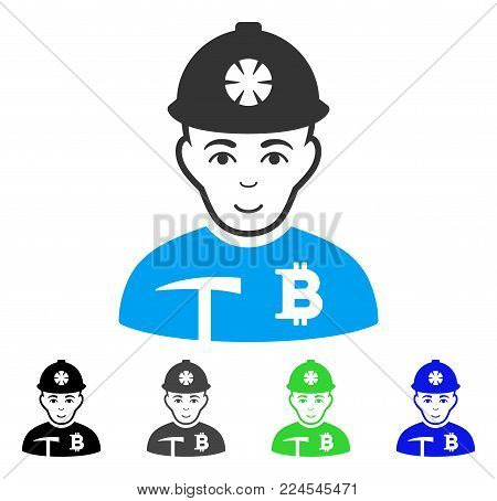 Joy Bitcoin Miner vector pictograph. Vector illustration style is a flat iconic bitcoin miner symbol with grey, black, blue, green color variants. Human face has glad sentiment.