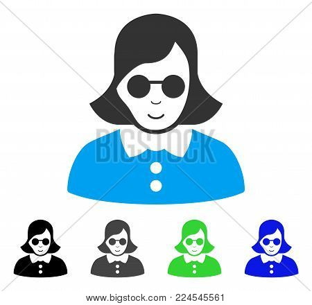 Joy Blind Woman vector pictogram. Vector illustration style is a flat iconic blind woman symbol with grey, black, blue, green color versions. Human face has joy expression.