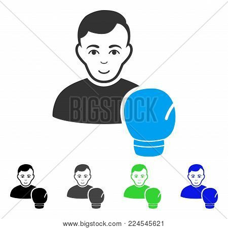 Glad Boxing Sportsman vector pictograph. Vector illustration style is a flat iconic boxing sportsman symbol with grey, black, blue, green color versions. Person face has enjoy emotions.