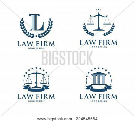 Vector Logo Design Illustration For Law Firm Business, Attorney, Advocate, Court Justice