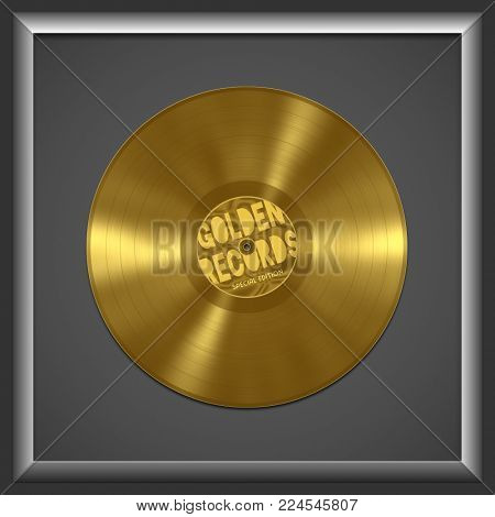 An illustration of an old vinyl golden record