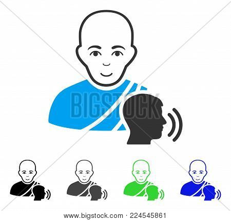 Happiness Buddhist Confession vector pictogram. Vector illustration style is a flat iconic buddhist confession symbol with gray, black, blue, green color versions. Human face has joy feeling.