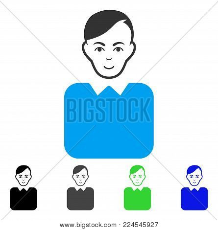 Happiness Bureaucrat vector icon. Vector illustration style is a flat iconic bureaucrat symbol with gray, black, blue, green color variants. Person face has positive feeling.