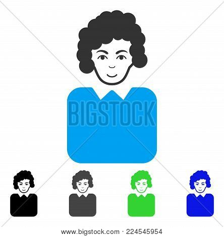 Smiling Bureaucrat Lady vector icon. Vector illustration style is a flat iconic bureaucrat lady symbol with grey, black, blue, green color variants. Person face has cheerful feeling.
