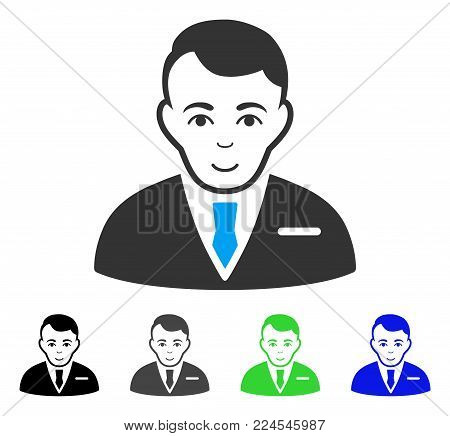 Cheerful Businessman vector pictograph. Vector illustration style is a flat iconic businessman symbol with gray, black, blue, green color variants. Human face has positive emotions.