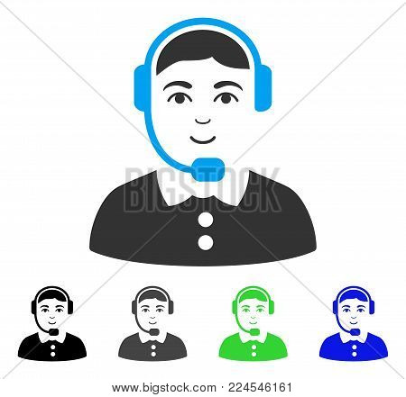 Positive Call Center Operator vector icon. Vector illustration style is a flat iconic call center operator symbol with grey, black, blue, green color variants. Person face has positive sentiment.