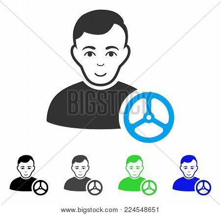 Enjoy Car Driver vector pictogram. Vector illustration style is a flat iconic car driver symbol with gray, black, blue, green color versions. Human face has joyful expression.