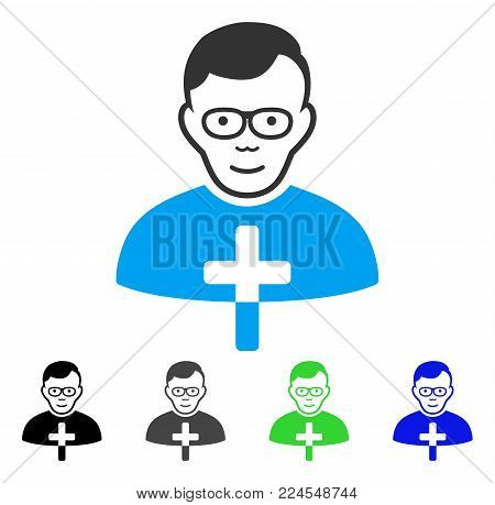 Joyful Catholic Shepherd vector icon. Vector illustration style is a flat iconic catholic shepherd symbol with gray, black, blue, green color variants. Human face has glad feeling.