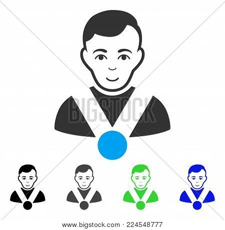 Enjoy Champion vector pictograph. Vector illustration style is a flat iconic champion symbol with grey, black, blue, green color variants. Person face has joy sentiment.