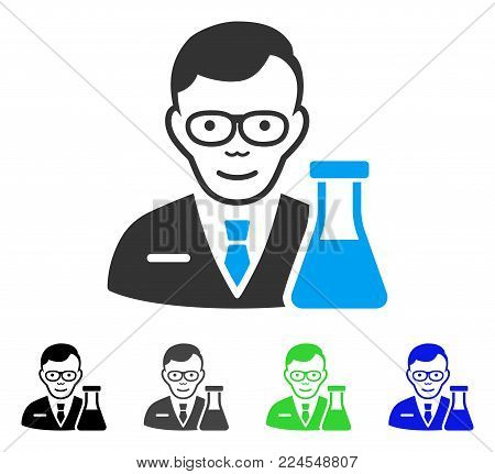 Cheerful Chemist vector pictograph. Vector illustration style is a flat iconic chemist symbol with gray, black, blue, green color variants. Human face has joyful sentiment.