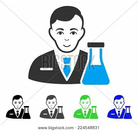 Positive Chemistry Man vector icon. Vector illustration style is a flat iconic chemistry man symbol with grey, black, blue, green color variants. Person face has joyful emotions.