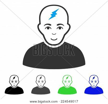 Cheerful Clever Boy vector pictogram. Vector illustration style is a flat iconic clever boy symbol with grey, black, blue, green color versions. Person face has positive feeling.