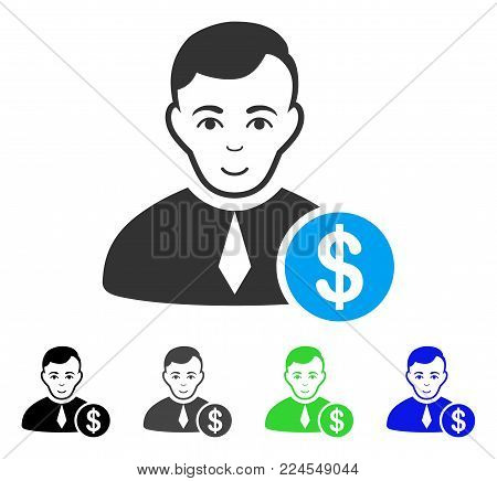 Glad Commercial Lawyer vector icon. Vector illustration style is a flat iconic commercial lawyer symbol with gray, black, blue, green color versions. Human face has joyful emotions.