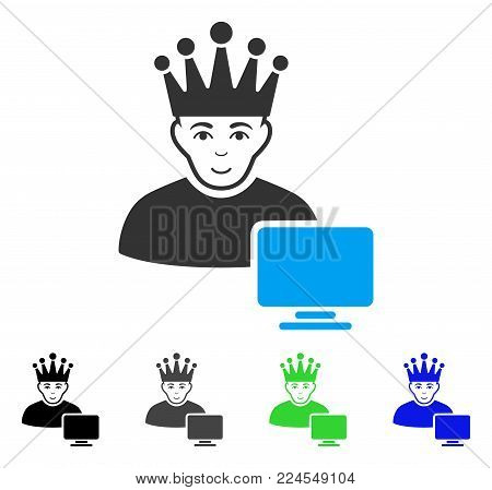 Positive Computer Moderator vector pictograph. Vector illustration style is a flat iconic computer moderator symbol with grey, black, blue, green color variants. Human face has cheerful sentiment.