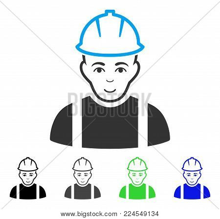 Joy Contractor vector pictogram. Vector illustration style is a flat iconic contractor symbol with grey, black, blue, green color versions. Person face has happiness feeling.