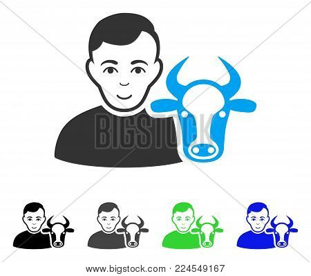 Enjoy Cow Farmer vector icon. Vector illustration style is a flat iconic cow farmer symbol with gray, black, blue, green color variants. Person face has joy expression.