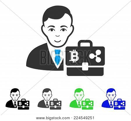 Happy Cryptocurrency Accounter vector pictogram. Vector illustration style is a flat iconic cryptocurrency accounter symbol with grey, black, blue, green color variants. Human face has joy emotions.