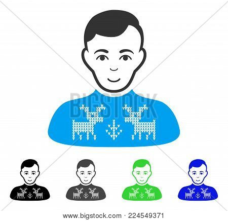 Glad Deers Pullover Boy vector icon. Vector illustration style is a flat iconic deers pullover boy symbol with gray, black, blue, green color versions. Person face has cheerful expression.