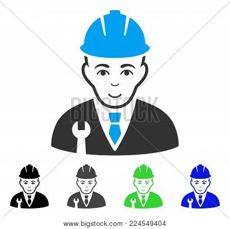 Happy Developer vector pictogram. Vector illustration style is a flat iconic developer symbol with gray, black, blue, green color versions. Person face has positive sentiment.
