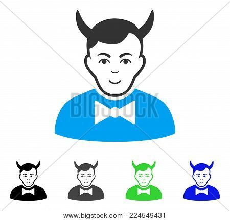 Glad Devil vector pictogram. Vector illustration style is a flat iconic devil symbol with gray, black, blue, green color versions. Human face has smiling emotion.