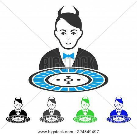 Happy Devil Roulette Dealer vector pictogram. Vector illustration style is a flat iconic devil roulette dealer symbol with gray, black, blue, green color versions. Human face has happy emotions.