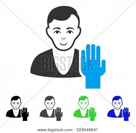 Joyful Elector vector pictogram. Vector illustration style is a flat iconic elector symbol with gray, black, blue, green color versions. Person face has enjoy sentiment.