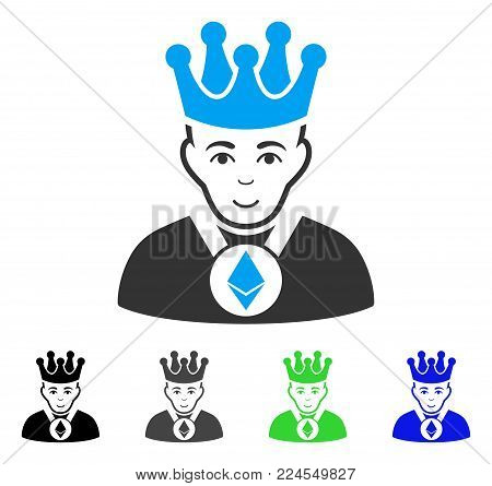Glad Ethereum Lord vector pictograph. Vector illustration style is a flat iconic ethereum lord symbol with gray, black, blue, green color versions. Person face has joy emotions.