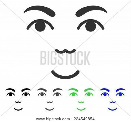 Glad Face vector pictograph. Vector illustration style is a flat iconic face symbol with gray, black, blue, green color versions. Person face has glad expression.