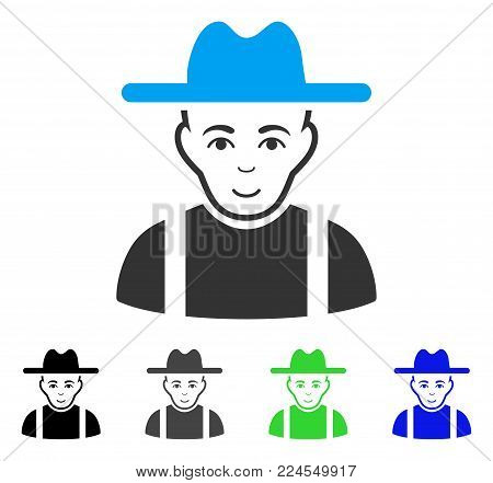 Glad Farmer Guy vector pictograph. Vector illustration style is a flat iconic farmer guy symbol with grey, black, blue, green color versions. Human face has cheerful feeling.