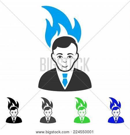Glad Fired Manager vector icon. Vector illustration style is a flat iconic fired manager symbol with grey, black, blue, green color versions. Human face has joyful expression.