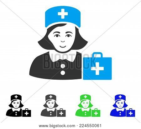 Glad First-Aid Nurse vector pictogram. Vector illustration style is a flat iconic first-aid nurse symbol with gray, black, blue, green color versions. Human face has joy sentiment.