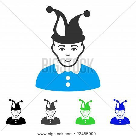 Happiness Fool vector pictogram. Vector illustration style is a flat iconic fool symbol with gray, black, blue, green color versions. Person face has glad sentiment.