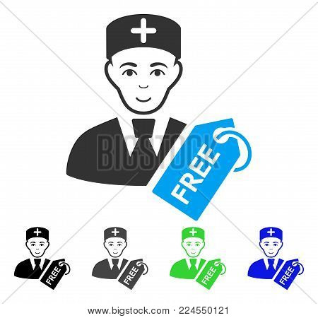 Smiling Free Doctor vector icon. Vector illustration style is a flat iconic free doctor symbol with grey, black, blue, green color variants. Human face has happiness emotions.