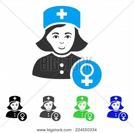 Joy Gynecologist Lady Doctor vector icon. Vector illustration style is a flat iconic gynecologist lady doctor symbol with grey, black, blue, green color versions. Human face has joy emotions.