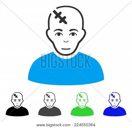 Glad Head Hurt vector pictogram. Vector illustration style is a flat iconic head hurt symbol with grey, black, blue, green color versions. Human face has happiness emotions.