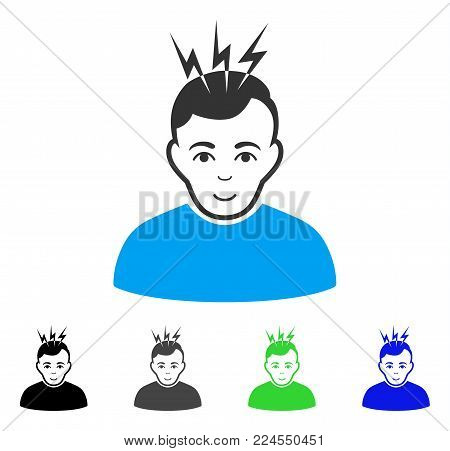Smiling Headache vector icon. Vector illustration style is a flat iconic headache symbol with gray, black, blue, green color versions. Person face has joy expression.