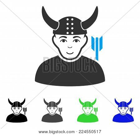 Glad Horned Warrior vector pictograph. Vector illustration style is a flat iconic horned warrior symbol with grey, black, blue, green color variants. Human face has enjoy sentiment.