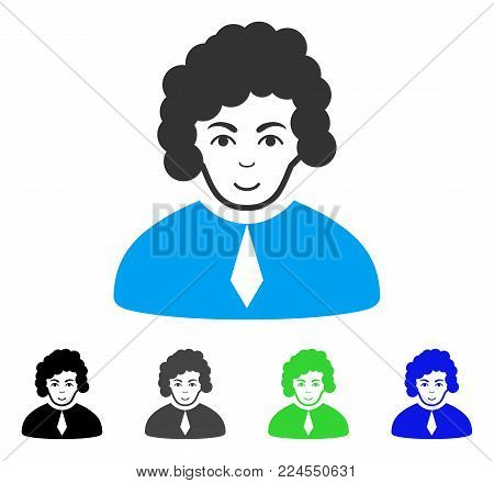 Glad Judge vector pictograph. Vector illustration style is a flat iconic judge symbol with grey, black, blue, green color versions. Human face has gladness sentiment.