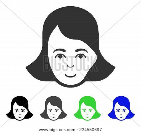 Smiling Lady Face vector pictograph. Vector illustration style is a flat iconic lady face symbol with grey, black, blue, green color variants. Human face has smiling emotion.