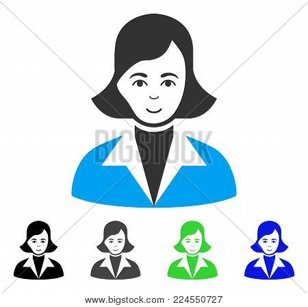 Gladness Lady vector pictogram. Vector illustration style is a flat iconic lady symbol with gray, black, blue, green color versions. Human face has happy emotion.