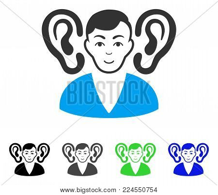 Happiness Listener vector pictograph. Vector illustration style is a flat iconic listener symbol with gray, black, blue, green color variants. Person face has smiling feeling.