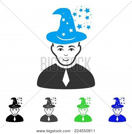 Smiling Magic Master vector icon. Vector illustration style is a flat iconic magic master symbol with grey, black, blue, green color variants. Human face has joy feeling.