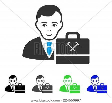 Happy Mining Accounter vector icon. Vector illustration style is a flat iconic mining accounter symbol with grey, black, blue, green color variants. Human face has happy feeling.