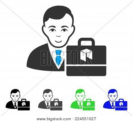 Glad Neo Accounter vector pictograph. Vector illustration style is a flat iconic neo accounter symbol with gray, black, blue, green color variants. Person face has smiling sentiment.