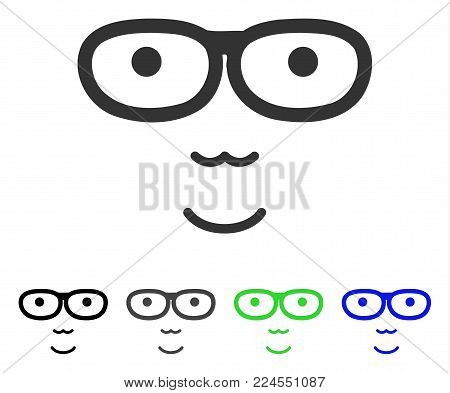 Happiness Nerd Face vector pictogram. Vector illustration style is a flat iconic nerd face symbol with gray, black, blue, green color variants. Human face has happiness feeling.