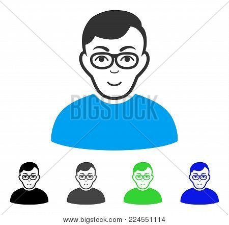 Joy Nerd Man vector icon. Vector illustration style is a flat iconic nerd man symbol with gray, black, blue, green color variants. Person face has glad emotions.