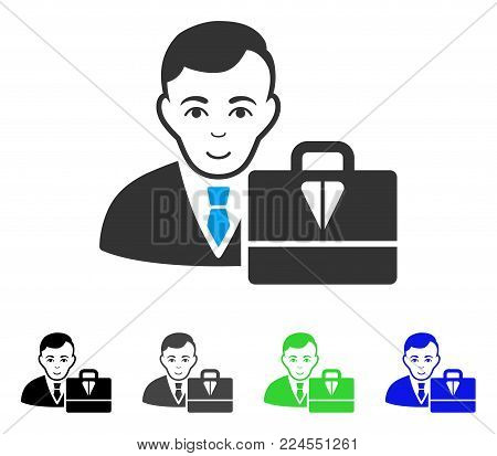 Enjoy Ton Accounter vector pictogram. Vector illustration style is a flat iconic ton accounter symbol with gray, black, blue, green color variants. Human face has glad mood.