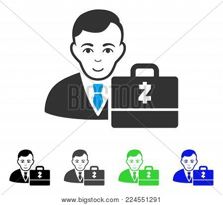 Happiness Zcash Accounter vector pictogram. Vector illustration style is a flat iconic zcash accounter symbol with gray, black, blue, green color variants. Person face has gladness feeling.