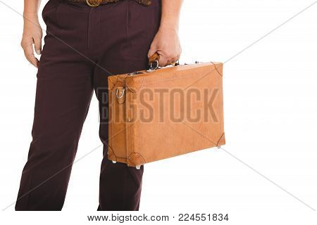 Asian Old Man Hold Suitcase